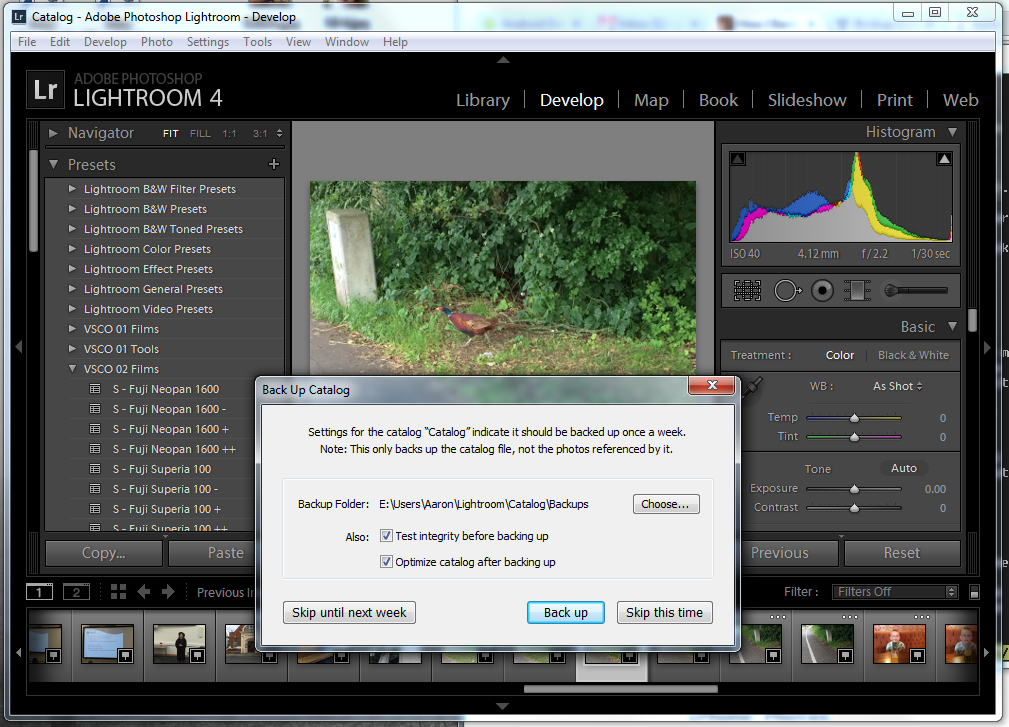 Lightroom's Backup Dialog